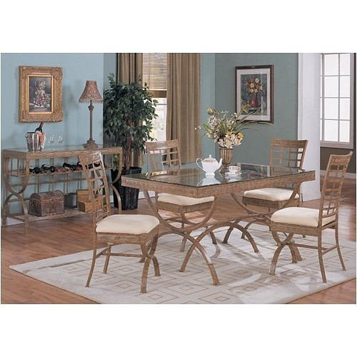 Image of NEW 36''X60'' GLASS TOP DINING TABLE SET W/ 4 CHAIRS (VF_DINSET-F2007-F1007)