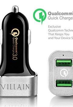 Livres Couvertures de [Quick Charge 3.0] méchant USB rapide chargeur de voiture avec deux ports Smart–La Technologie Qualcomm Quick Charge 3.0–36W chargeur de voiture USB pour Samsung, LG, HTC, iPhone, iPad, GPS, Dash Cams et bien plus encore