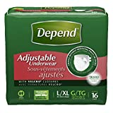 Depend Adjustable Incontinence Underwear, Maximum Absorbency, Large/X-Large, 16 Count (Pack of 3)