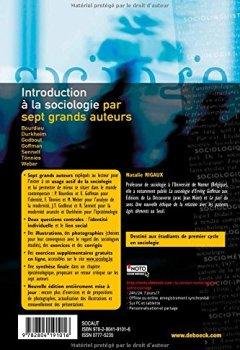 Livres Couvertures de Introduction à la sociologie par sept grands auteurs