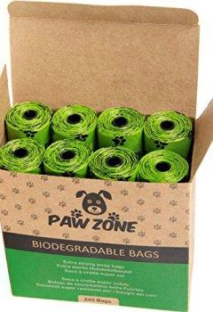 Livres Couvertures de Sacs biodégradables pour chiens, 240à déjections Bags|16Rolls|15Doggie déjections canines Sacs par rouleau de qualité de chien Poo Sacs par Paws Zone