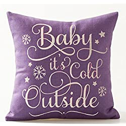 "Baby It's Cold Outside In Purple Letters Special Gift Idea Merry Christmas Gift Cotton Linen Decorative Throw Pillow Case Cushion Cover Square 18 ""X18 """
