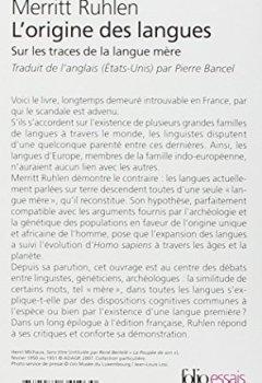Livres Couvertures de L'origine des langues: Sur les traces de la langue mère
