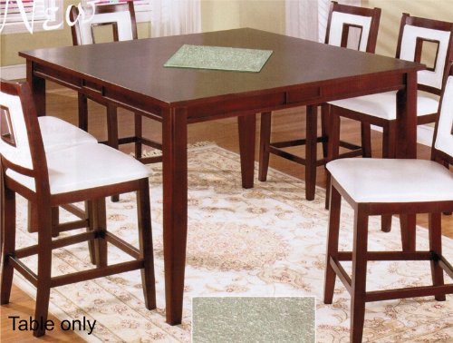 Image of Counter Height Table with Glass Top in Red Mahogany Finish by Acme (VF_AZ00-77877x36783)