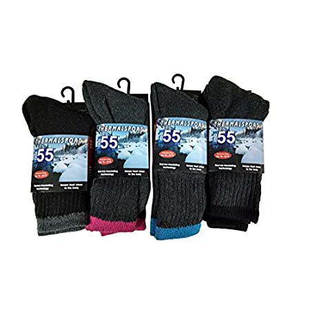 Ships in assorted colors as follows:Black, Navy And Dark Gray Sock size 9-11 fits Women's shoe size 5-11 Buy Women's Thermal Crew socks in bulk to save more! 75% Acrylic, 23% Polyester, 2% Spandex