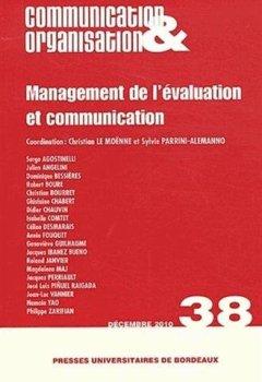 Livres Couvertures de Communication & Organisation, N° 38, décembre 2010 : Management de l'évaluation et communication