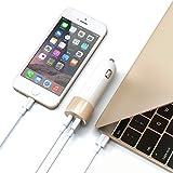 Satechi 48W Type Cと標準USB Aポート付 車載アダプター 対応: Apple Macbook 12 Inch, LG G5, Nexus 5X/6P, HTC 10など (ゴールド)