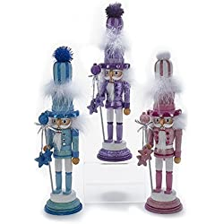 Kurt Adler Hollywood 1 Set 2 Assorted 15 Inch Pink, Blue And Purple Nutcrackers