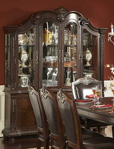 Image of China Cabinet Buffet Hutch Acanthus Leaf Carvings in Rich Brown (VF_HE1394-50)