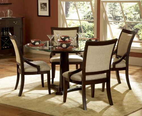 Image of 5pc Dining Set Round Glass Top Table in Dark Cherry (VF_HE1377-54-5)