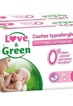Livres Couvertures de Love & Green - Couches Bébé Hypoallergéniques 0% -  Taille 1 (2-5 kg) - Lot de 2 x 23 couches (46 couches)