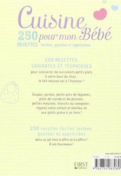 Livres Couvertures de Cuisine pour mon Bébé - 250 recettes testées, goûtées et appréciées