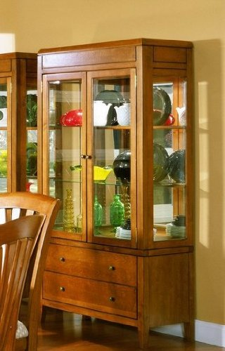 Image of Tiburon Collection Solid Hardwood Curio China Cabinet (VF_HE783-50)