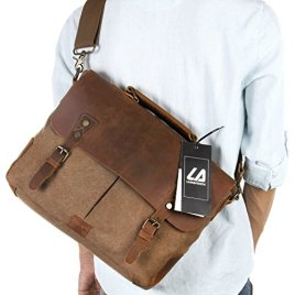 Langforth-14-inch-Laptop-Messenger-Bag-Vintage-Genuine-Leather-Canvas-Briefcase-13Lx105H-x-41W