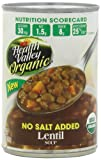 Health Valley Organic No Salt Added Soup, Lentil, 15 Ounce (Pack of 12)