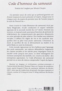 Livres Couvertures de Code d'honneur du samouraï : Une traduction moderne du Bushido Shoshinshû de Taïra Shigésuké