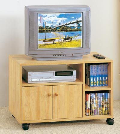 Image of All new item Natural finish TV stand with casters (AMB F4402)