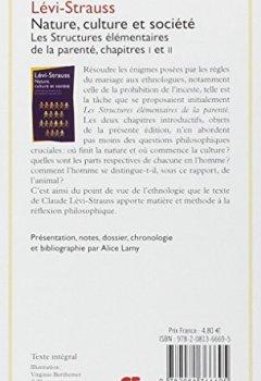 Livres Couvertures de Nature, culture et société : Les structures élémentaires de la parenté, chapitre 1 et 2