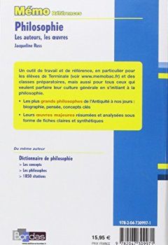 Livres Couvertures de Mémo Références • Jacqueline Russ • Philosophie Les auteurs, Les oeuvres