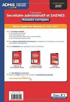 Livres Couvertures de Concours Secrétaire administratif - Catégorie B - Annales corrigées - Concours 2017