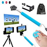 EEEKit 5 in 1 for iPhone 5 5C 5S 4S Samsung Galaxy S5/S4 Note 3/2 HTC One LG Sony Android Cell Phone, Extendable Handheld Monopod for Compact Camera + Adjustable Smartphone Adapter Phone Holder + Retractable Rotating Tripod Stand Mount+ WirelessBluetooth Remote Camera Shutter Release Control + EEEKit Pouch (Blue)