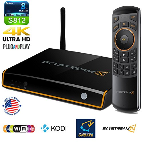 SkyStream X5 Android TV Box with Built-In TV Tuner & DVR, Fully Loaded KODI, SkyStream KODI Updater App, AC Wireless & SkyStream Air Mouse - 2G/16G/4K