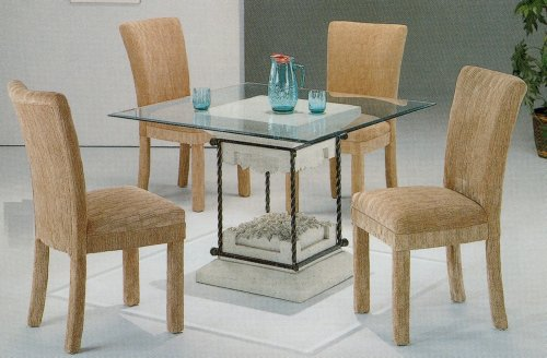 Image of 5pc Faux Stone Glass Top Dining Table & Grey Parson Chairs Set (VF_dinset-7065-4769GRY)