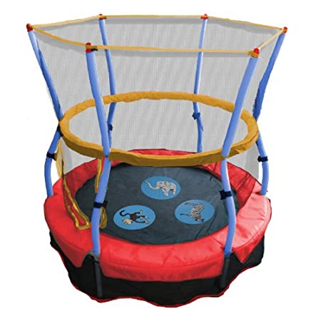 Kids will love to move and learn on the Skywalker Trampolines Zoo Adventure Bouncer with enclosure. The stretch-band surface offers the exciting bounce children love without springs and pinched fingers. The brightly colored zoo animal pictures and so...