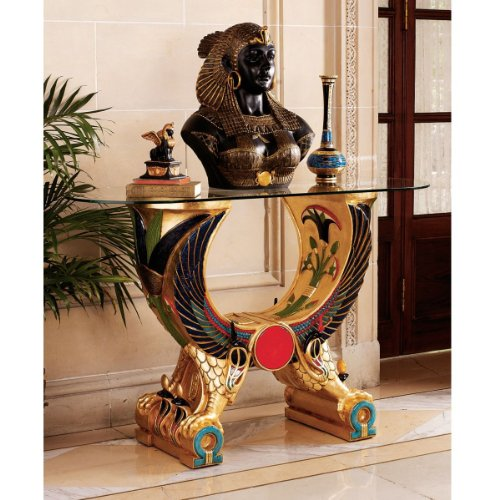 Image of Ancient Egyptian Horus Sculpture Glass Console Foyer Table (WU71539)