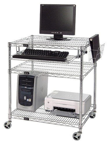 Picture of Comfortable Chrome Wire Shelving Computer Smart Board Cart- M2430CLAN - 24x30x34 (B004SWKMO0) (Computer Carts)