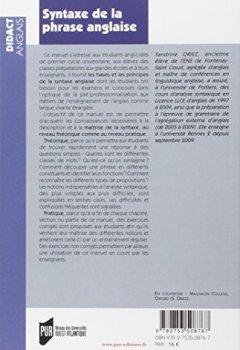 Livres Couvertures de Syntaxe de la phrase anglaise : Licence-Master-Concours