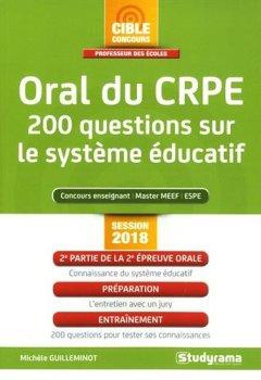 Livres Couvertures de Oral du CRPE : 200 questions sur le système éducatif