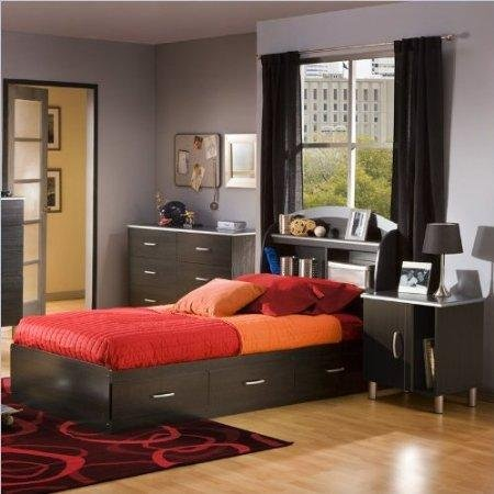 Image of South Shore Cosmos Kids Twin Onyx Wood Bookcase Bed 4 Piece Bedroom Set (3127080-4PKG)