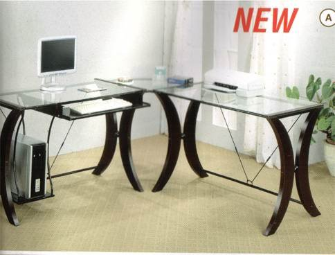 Picture of Comfortable Coaster L-Shape Home Office Computer Desk, Cappuccino Finish Base, Glass Top (B001HFB6MS) (Computer Desks)