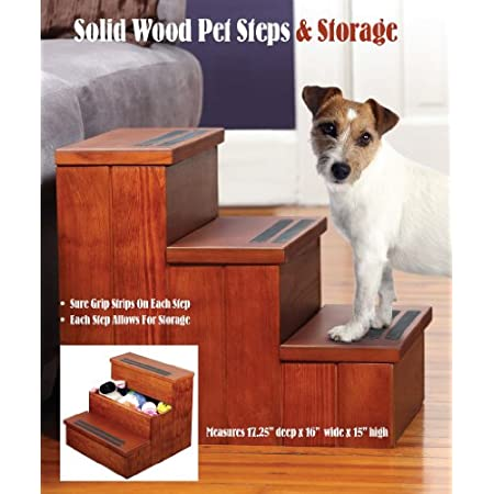 Your pet will love the Step and Store Wooden Dog Staircase and Storage Bin not only does it help them get to their favorite spot on the couch or bed, but it also stores their favorite toys Made of solid wood, this staircase features nonskid treads on...