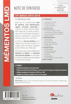 Livres Couvertures de Mémentos LMD - La note de synthèse, 14ème Ed.
