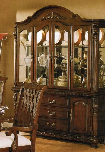 Image of Elegant Mohagony Buffet China W/ Hutch And Glass Doors (VF_AZ02-13919)