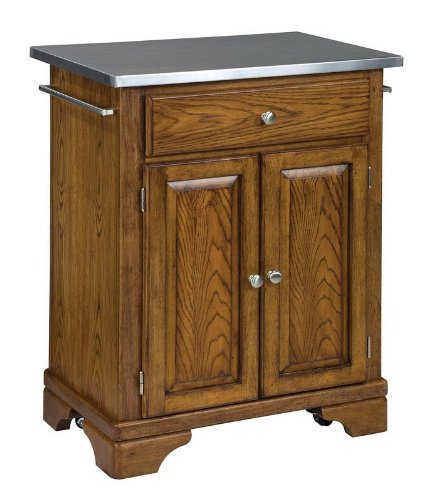 Image of Kitchen Cart with Stainless Steel Top in Oak Finish (VF_HY-9003-0062)