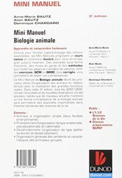 Livres Couvertures de Mini manuel de Biologie animale - 3e éd. - Cours et QCM/QROC