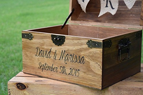Personalized Wedding Card Box With Engraved Name And
