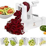 Brieftons 5-Blade Spiralizer: Strongest-and-Heaviest Duty Vegetable Spiral Slicer, Best Veggie Pasta Spaghetti Maker for Low Carb/Paleo/Gluten-Free Meals, With 3 Exclusive Recipe eBooks