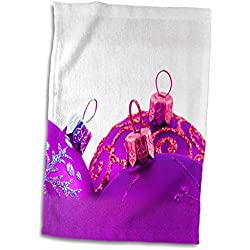 Yves Creations Christmas Decorations - Three Purple Christmas Baubles - 11x17 Towel (twl_77008_1)