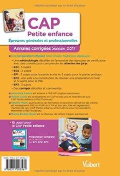 Livres Couvertures de CAP Petite enfance - Épreuves générales et professionnelles - Annales corrigées - Session 2017