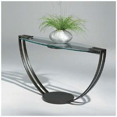 Image of Opus Contemporary Console Table Glass Type: Frosted, Metal Finish: Mocha (89-159+Frosted Glass(Mocha Metal Finish))