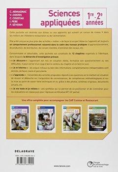 Livres Couvertures de Sciences appliquées CAP cuisine, restaurant, métiers de l'alimentation : 1e et 2e années