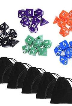 Livres Couvertures de Blulu Dés à Jouer Dés Polyèdre en 5 Sets Totals avec 5 Pack Pochettes Noir pour Jeux DUNGEONS & DRAGONS RPG Donjons et Dragons D&D, 35 Pièces