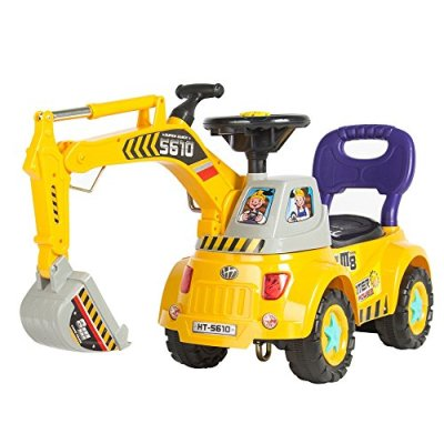 Ride-on-Excavator-Digger-Scooter-Pulling-Cart-Pretend-Play-Construction-Truck