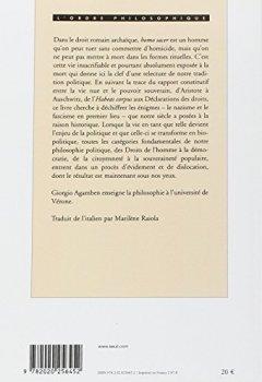 Livres Couvertures de Homo sacer : Tome 1, Le pouvoir souverain et la vie nue
