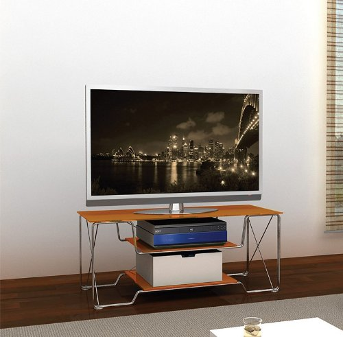Image of Flat Panel LCD TV Stand in Urban Design with Orange Shelves (AZ00-49047x21335)