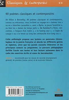 Livres Couvertures de 90 poèmes classiques et contemporains